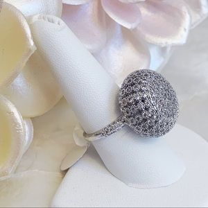Silver Tone CZ Dome Elegant Cocktail Ring Sz 9 NEW